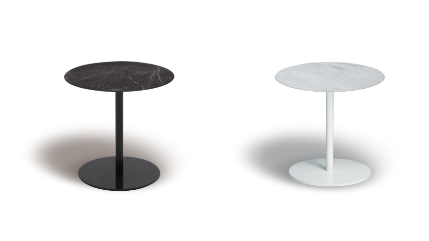 Hanna side table round marble black and white